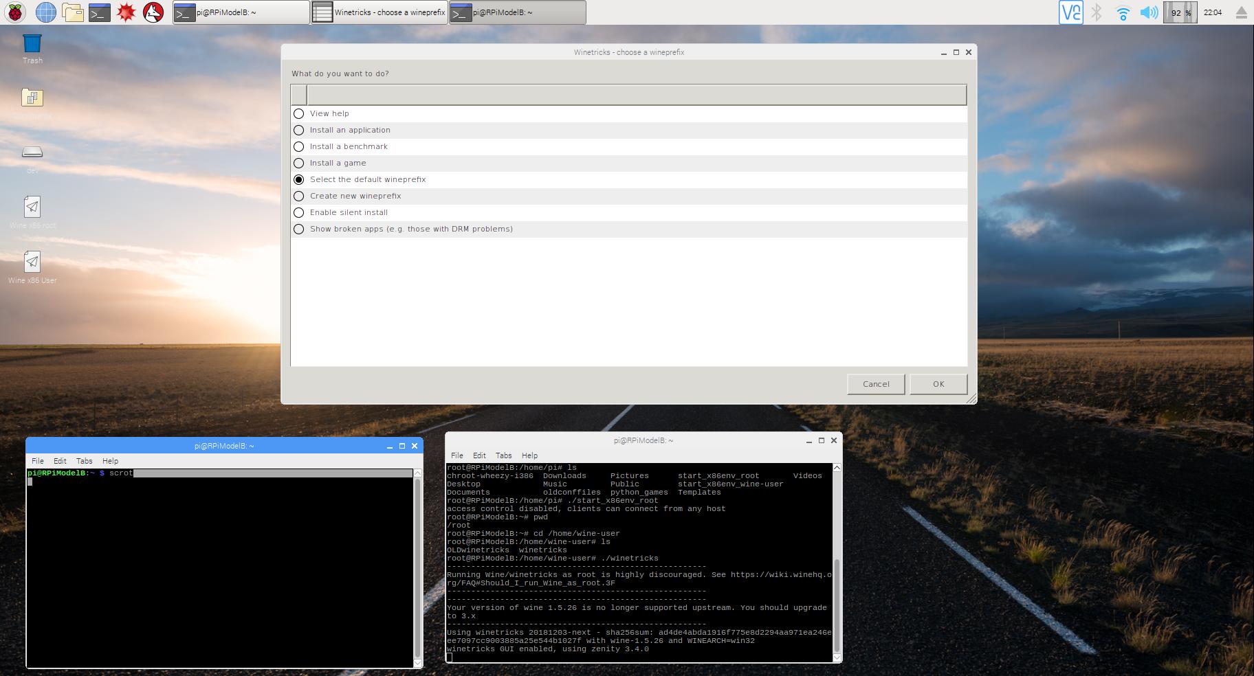 Getting RPi-QEMU-x86-wine Too Run winetricks on a Raspberry Pi